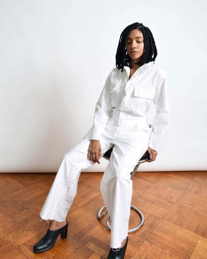 3566f65de8a9 Vintage White Cotton Coveralls Boiler Suit Jumpsuit Flight