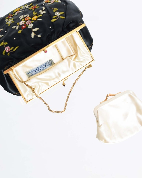 Vintage 1930s Satin Evening Purse with Coin Purse