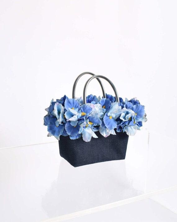 Vintage 90s Flower Basket Handbag 1990s Floral Sum