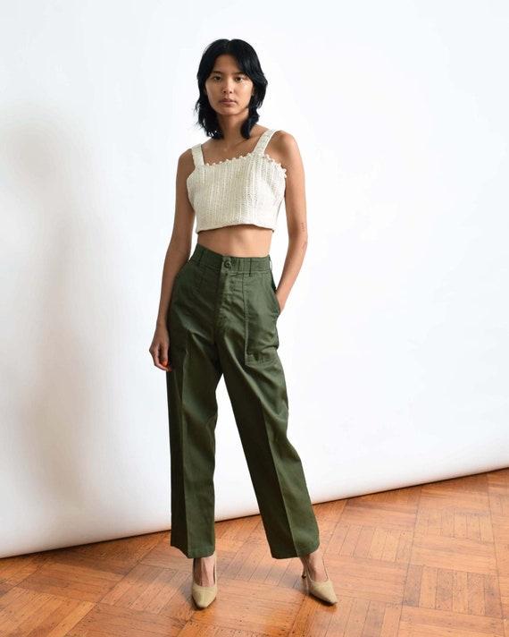 Womens Olive Drab Vintage Fatigue Pants