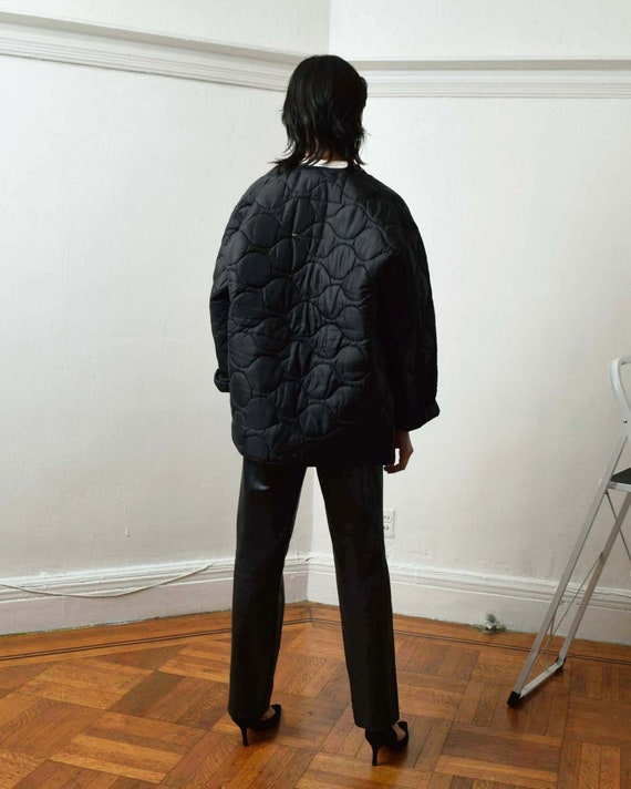 Vintage Black Liner Jacket Quilted Jacket - image 4