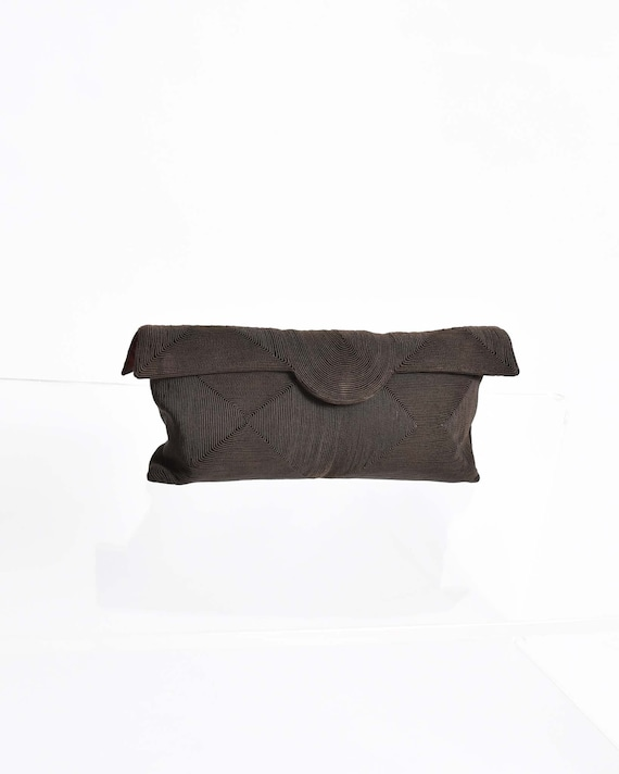 Vintage 1940s Corde Brown Clutch Purse 40s Fabric