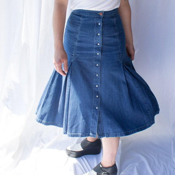 Vintage denim midi skirt, Denim Skirt, A-line Deni