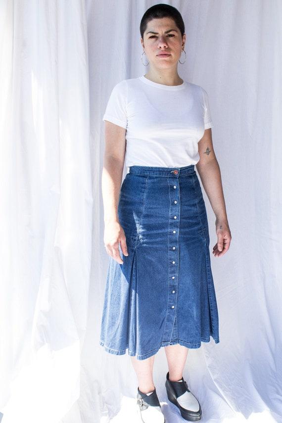 Vintage denim midi skirt, Denim Skirt, A-line Den… - image 2