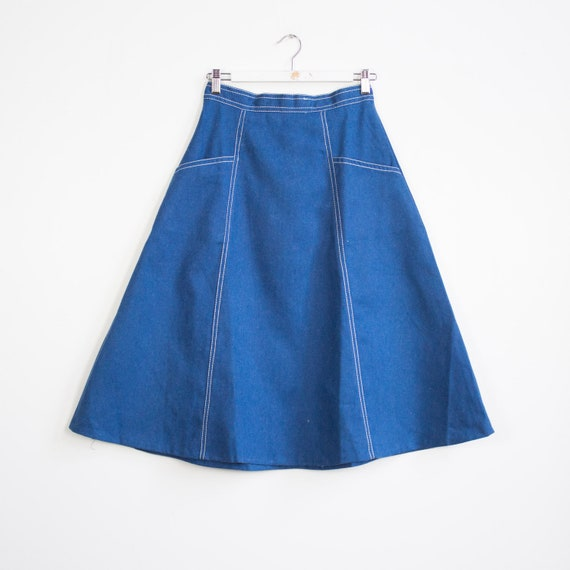 Rockabilly vintage brushed denim midi skirt, 1960'