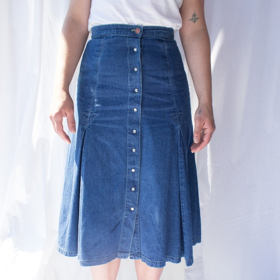 Vintage denim midi skirt, Denim Skirt, A-line Den… - image 4