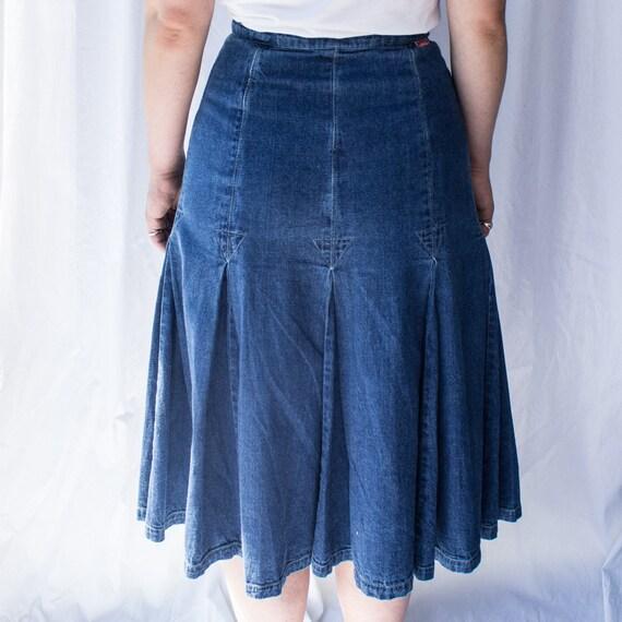 Vintage denim midi skirt, Denim Skirt, A-line Den… - image 5