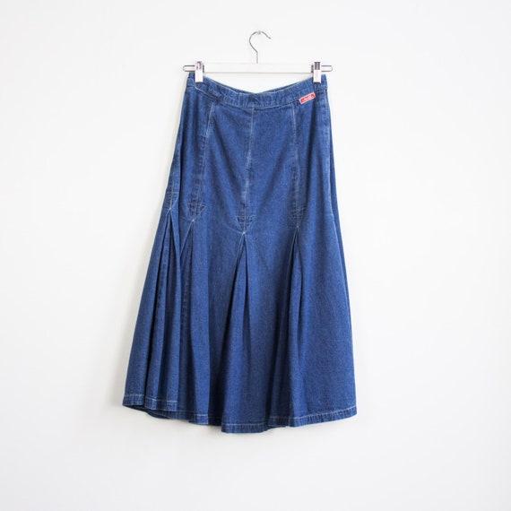 Vintage denim midi skirt, Denim Skirt, A-line Den… - image 8