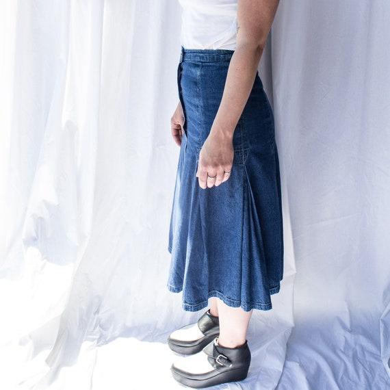 Vintage denim midi skirt, Denim Skirt, A-line Den… - image 3