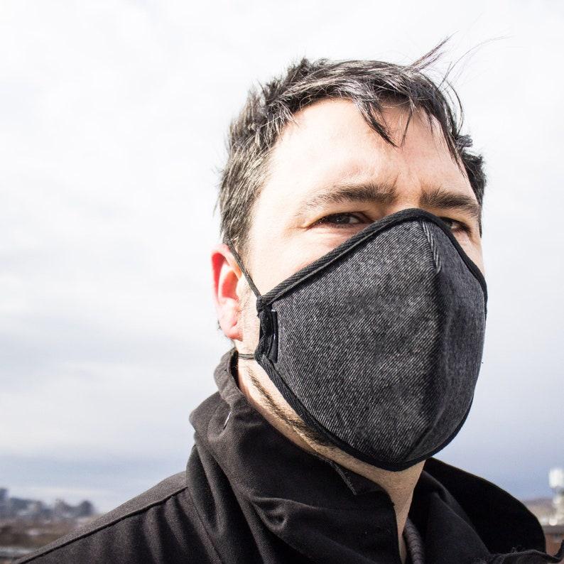 Face mask for men denim face mask with filter denim face Black