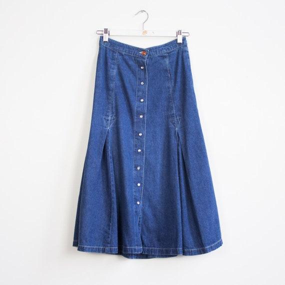 Vintage denim midi skirt, Denim Skirt, A-line Den… - image 6