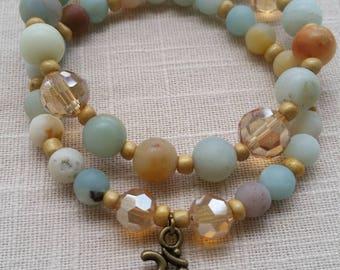 Amazonite bracelet set, Om Charm bracelet, Yoga Bracelet, Namaste