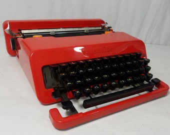 Beautiful Red Olivetti Valentine Rare Working Typewriter and Case! Free Shipping to Lower 48!