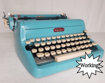 Beautiful Bright Teal Royal Quiet De Luxe Working 1950s Typewriter & Case! Free Shipping to Lower 48!