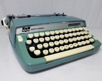 """Retro Blue Smith-Corona """"Super Sterling"""" Working Typewriter and Case - Free Shipping to Lower 48!"""
