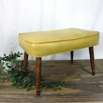 Yellow Rectangle Mid Century Modern Ottoman/Footstool with Taper Legs - Free Shipping to Lower 48!