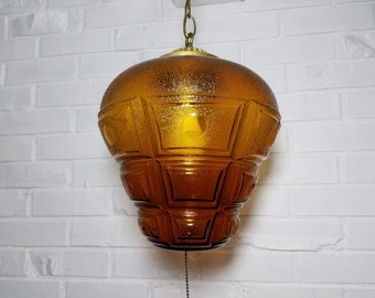 Vintage Amber Yellow Glass and Brass Swag Lamp - Free Shipping to Lower 48!