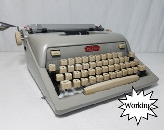 Awesome Small Font Atomic Age Royal Futura 600 Working Typewriter and Case! Free Shipping to Lower 48!