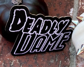 Deadly Dame 3 Inch Iron On Embroidered Patch