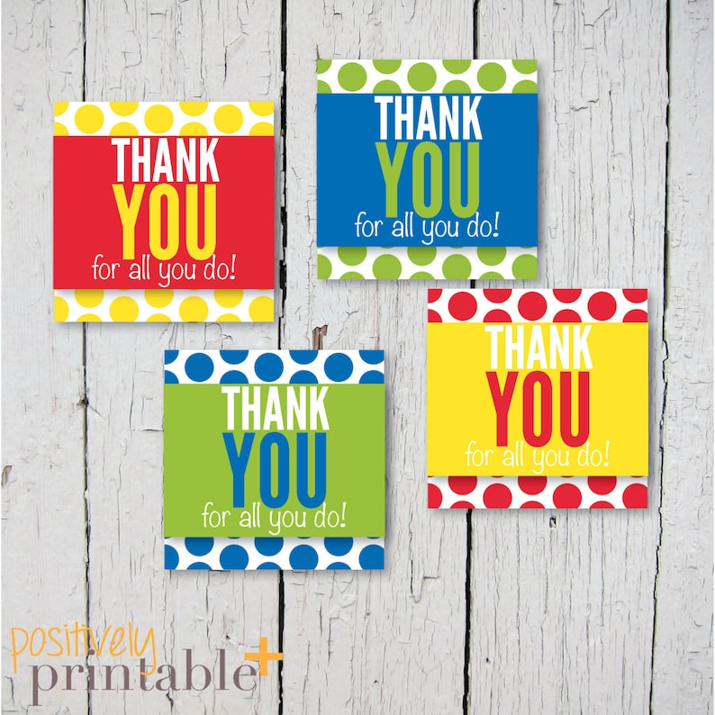 Printable Stickers Thank You For All You Do Cupcake Toppers or Decorations