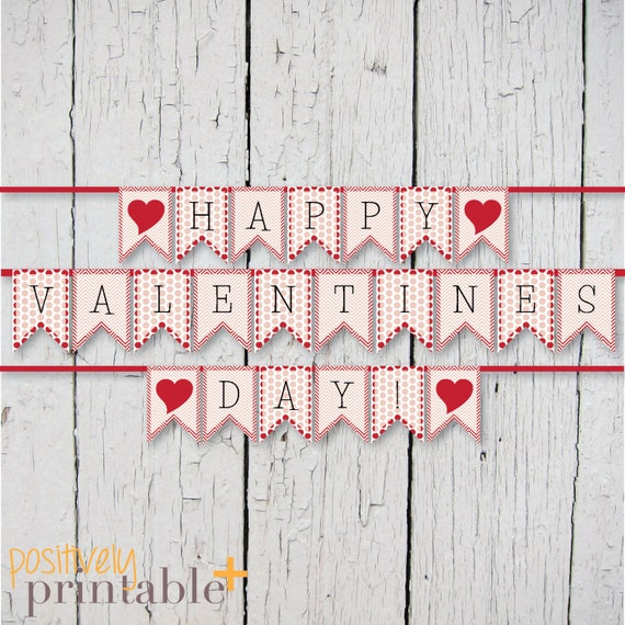 photograph relating to Happy Valentines Day Banner Printable referred to as Valentines Working day Banner Pink Dots and Chevron - Banner Printable
