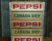 Wholesale lot of 5 Original, Vintage Pepsi Crates Canada Dry Soda Crates
