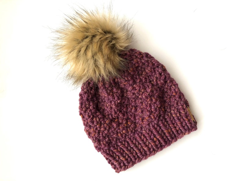 484b480a3def1 Texture Slouchy Beanie   Faux Fur Pom Pom   Winter Hat