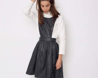 Black leather pinafore dress, designer dress, leather pinafore, faux leather dress, party dress, black pinafore, pinafore