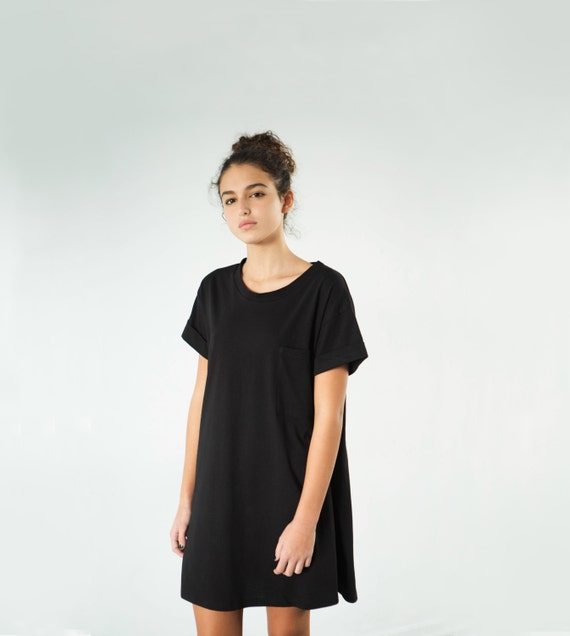 Black T Shirt Dress Womens T Shirt Dress Oversize T Etsy