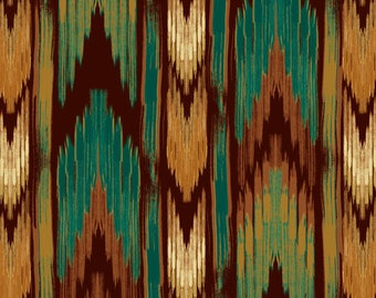 Brown and Teal Native American Fabric-Southwest Stripe-David Textiles-Native American Arrowhead Fabric-Stripe Fabric-Rustic Quilt Fabric