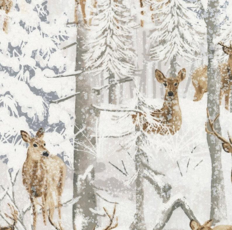 Sanctuary deer wildlife forest panel Wilmington fabric