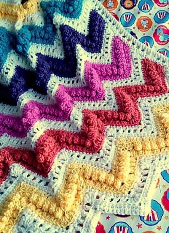 Digital Pattern Chevron Bobble And Eyelet Crochet Baby Etsy