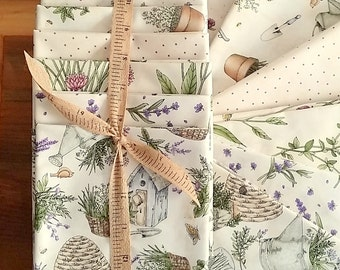Gift For Quilter. Thyme With Friends Fabric Quarter 6 Piece Pack Natural. Gardner Gift Hostess Gift. Herb Gardening Quilt Fabric. Lavender.