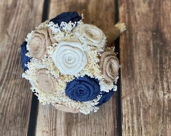 Choose Size Burlap Bouquet Bridesmaid Bouquet in BurlapNavyCoralIvory Rustic Bouquet Wedding Bouquet Burlap Flowers Rustic Wedding