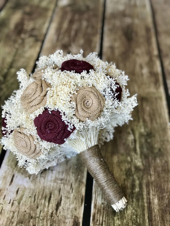bridal bouquet in burgundy/burlap : rustic bouquets, burlap bouquets,  burlap wedding bouquets, bouquets, burgundy bouquets, burlap