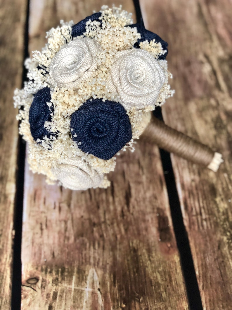 Burlap Wedding Bouquets Wedding Bouquets MiniBudget Wedding Bouquets in Navy /& Ivory : Bridesmaids Bouquets Rustic Bouquets Bouquets