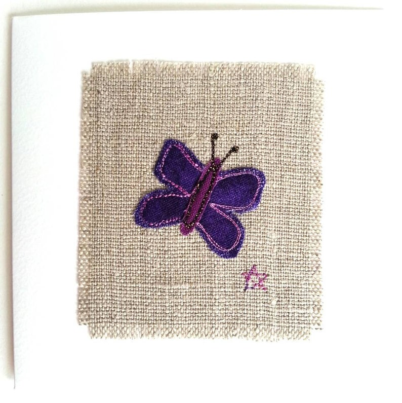 Butterfly card  Unique birthday card or 4th / 12th anniversary card for him  or her  With embroidered butterfly on natural linen