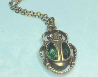Scarab necklace-Green Steampunk necklace-Emerald Necklace-Scarab Earrings-Beetle necklace-Scarab jewelry-Egyptian jewelry-Egyptian necklace