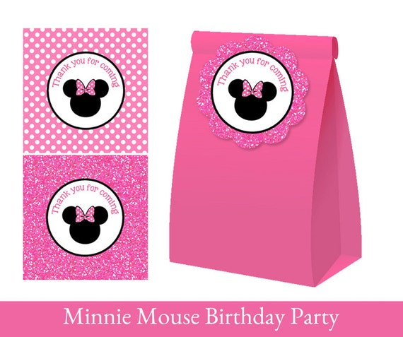 minnie mouse favor tag minnie mouse thank you tag loot bag etsy