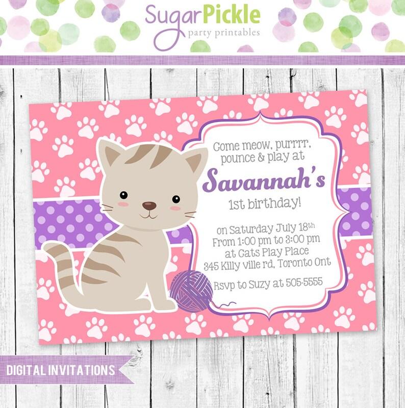 Kitty Invitation Party Cat Birthday
