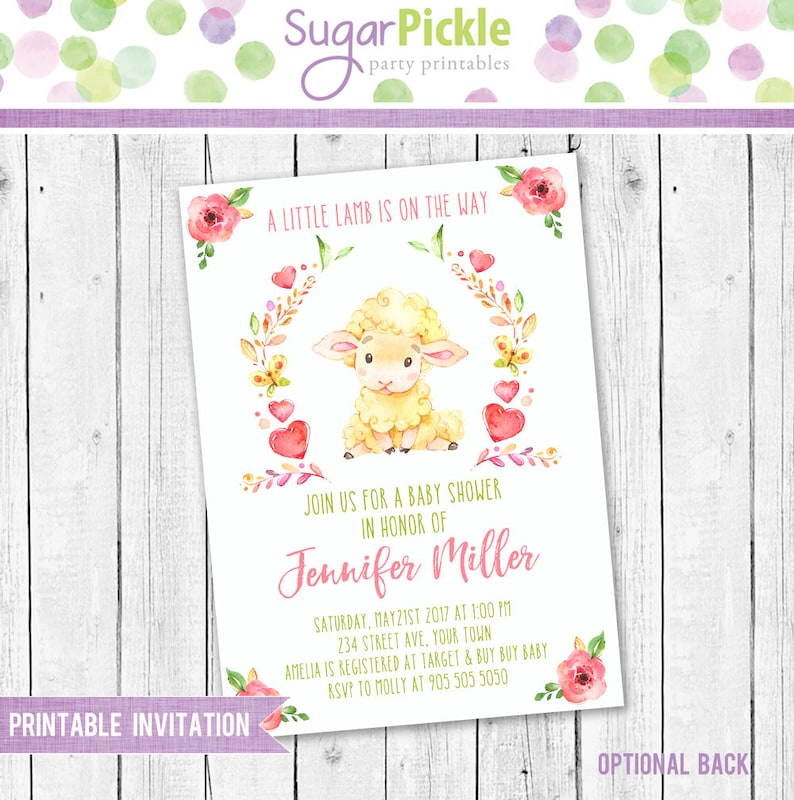 photo about Baby Shower Printable Invitations named Lamb Boy or girl Shower Printable Invitation, Lamb Invitation, Little one Shower Get together Invite, Kid shower small lamb get together invitation printable
