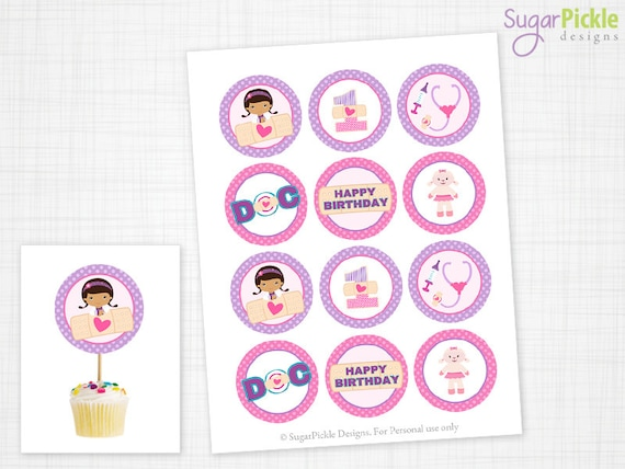 Doc McStuffins Cupcake Toppers 1st Birthday