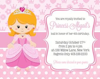 Princess Birthday Invitations, Princess Party Invitation, Princess Party Invite, Princess Invitations, PRINCESS PRINTABLE INVITATION