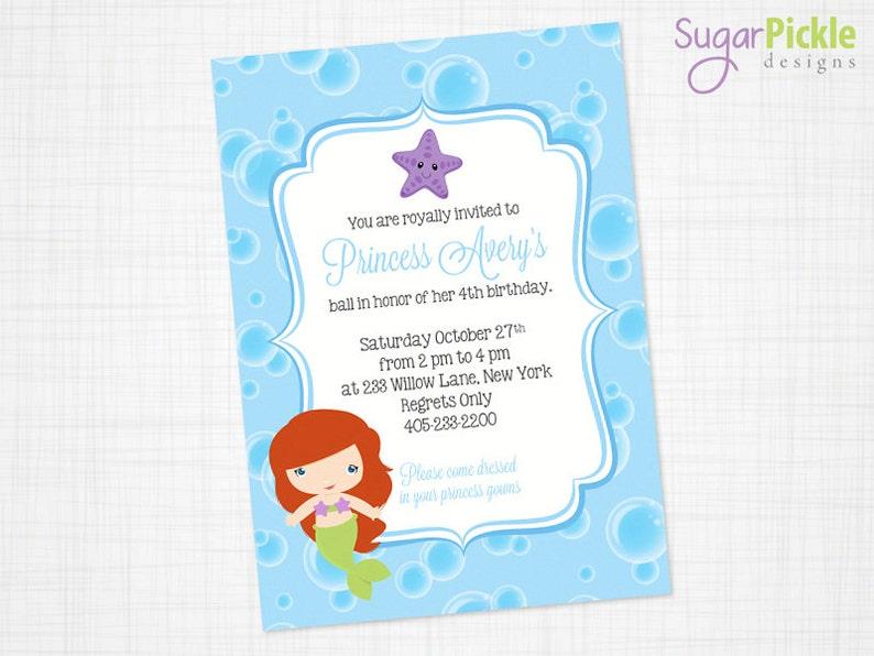 Little Mermaid Invitation Birthday