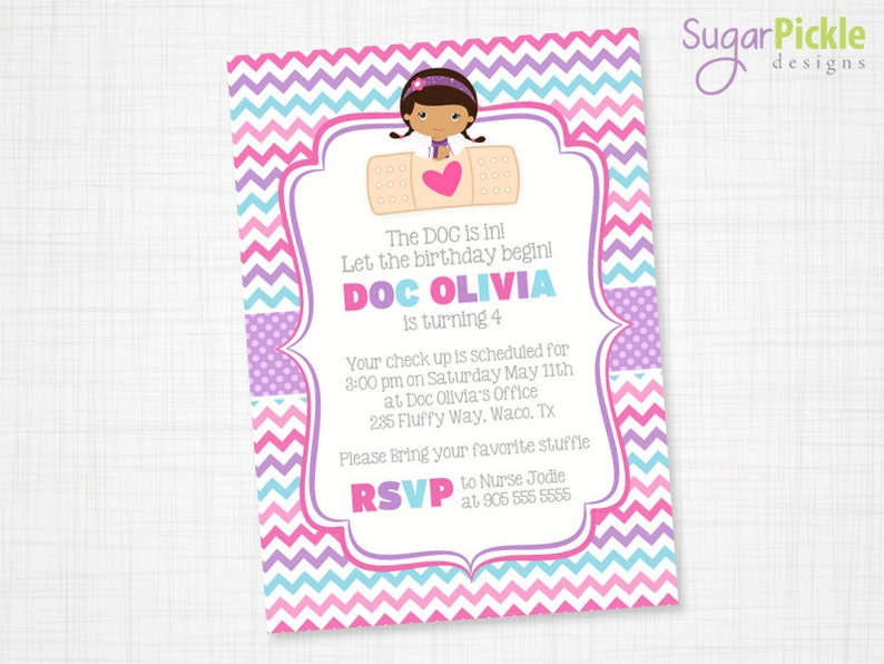 Doc McStuffins Invitation Party Birthday Girl