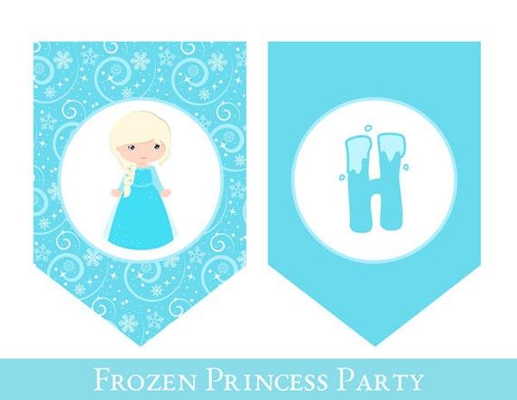 graphic relating to Frozen Banner Printable identified as Frozen Birthday Banner, Frozen Influenced Banner, PRINTABLE BIRTHDAY BANNER, Frozen Get together Banner