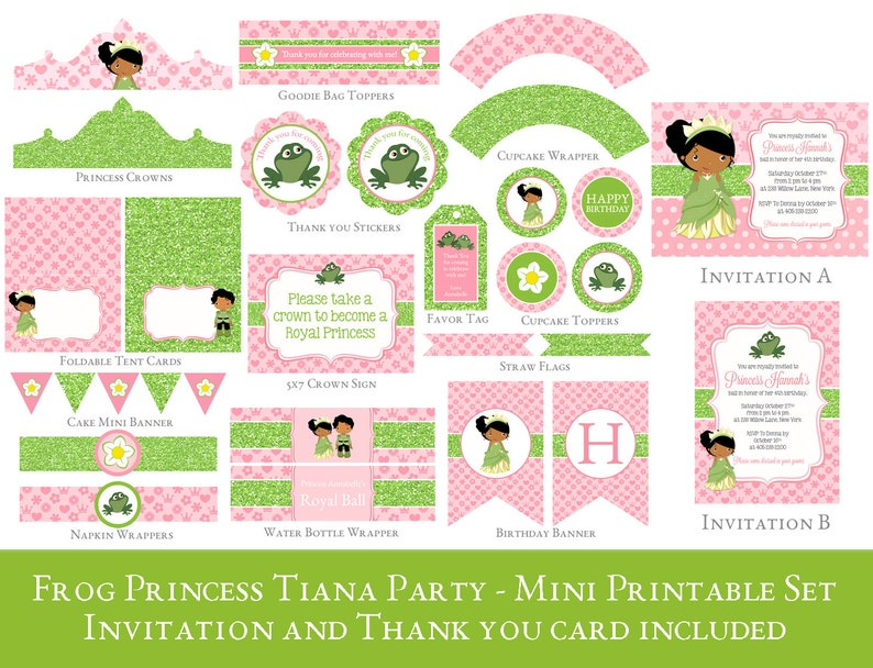 Princess Tiana Party Printable Set Frog Birthday Decorations INVITATION INCLUDED