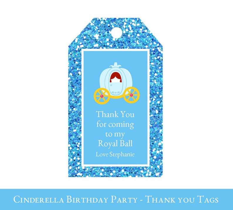 fbea0f619 Cinderella Favor Tags Thank You Tags Cinderella Loot Bag | Etsy