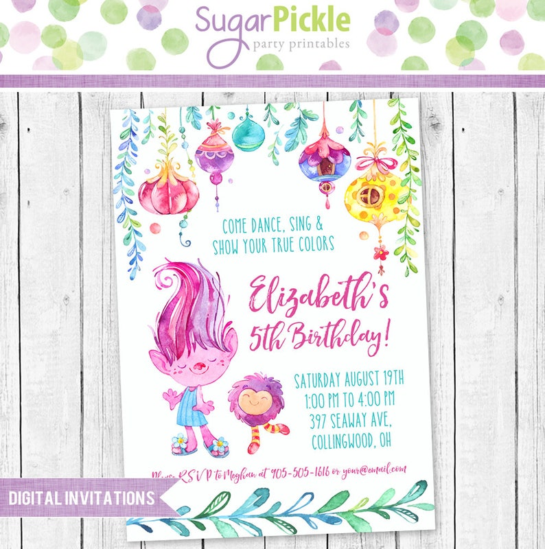 picture about Trolls Birthday Invitations Printable called Trolls Birthday Invitation, Trolls Invitation, Trolls Bash, Trolls Dance bash Invitation, Trolls Birthday social gathering Printable invitation