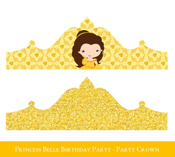 belle crown printable birthday crown crown printable etsy
